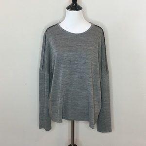Zara Trafaluc Gray Crew Raw edge Sweater- Large